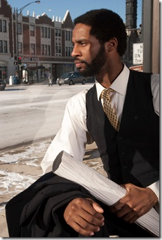Michael Pogue, playing Harmond Wilks, in Raven Theatre's 'Radio Golf', by August Wilson. Photo by Dean LaPrairie.