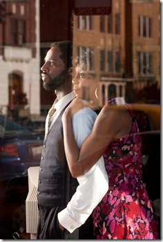 Michael Pogue, Demetria Thomas in a scene from Raven Theatre's 'Radio Golf' by August Wilson. Photo by Dean LaPrairie.