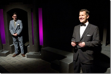 Ray Shoemaker and Joe Mack in Gift Theatre's 'Night and Her Stars' by Richard Greenberg.
