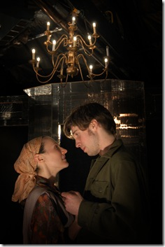 Kristen Secrist and Jeremy Kahn in Theatre Mir's 'Caucasian Chalk Circle' by Bertolt Brecht. Photo by Adam Orton.
