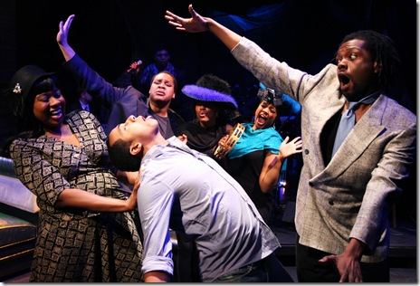 Clockwise from left: LaNisa Frederick, Osiris Khepera, Whitney White, Sharriese Hamilton, Aaron Holland, Steven Perkins in Bailiwick Chicago's 'Passing Strange'. Photo by Jay Kennedy ©2011