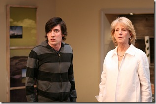 Billy (Will Allan) and Stevie (Annabel Armour) struggle to accept the reality of Martin's betrayal in Remy Bumppo Theatre Company's production of Edward Albee's The Goat or, Who is Sylvia?. Photo by Johnny Knight.