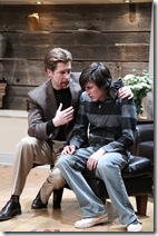 Martin (Nick Sandys) tries to comfort troubled son Billy (Will Allan) in Remy Bumppo Theatre Company's production of Edward Albee's The Goat or, Who is Sylvia?. Photo by Johnny Knight.