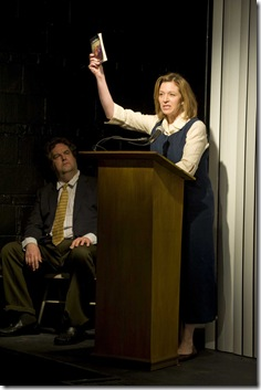 Bradley Mott and Laura T Fisher in Next Theatre's 'The Metal Children' by Adam Rapp. Photo credit: Michael Brosilow