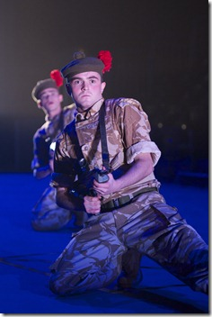 Scott Fletcher (Kenzie) and Jamie Quinn (Fraz) in the National Theatre of Scotland's production of Black Watch, presented by Chicago Shakespeare Theater at the Broadway Armory now through April 10, 2011. Photo by Manuel Harlan.
