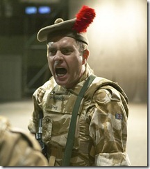 Paul Higgins (Writer/Sergeant) in the National Theatre of Scotland's production of Black Watch, presented by Chicago Shakespeare Theater at the Broadway Armory now through April 10, 2011. Photo by Manuel Harlan.