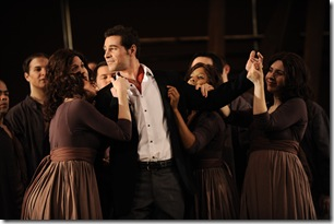 Paul LaRosa as Oronte, surrounded by Ensemble. Photo by Liz Lauren.