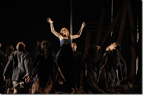 The ensemble of Chicago Opera Theater's 'Medea' surrounds Anna Stephany (Medea).  Photo by Liz Lauren.