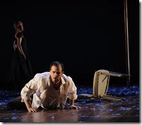 Evan Boyer as Creon, background: Anna Stephany as Medea. Photo by Liz Lauren
