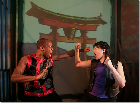 Evan Lee, Christine Lin in a scene from Infusion Theatre's Soul Samurai by Qui Ngyuen. Photo by Anthony LaPenna