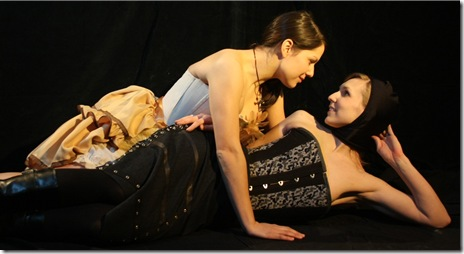 Gillian N. Humiston (Romeo) and Ashley Fox (Juliet) in Babes With Blades' Romeo and Juliet