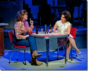 "Kate Brown as narrating friend Louise Steger and Megan Long as Patsy Cline in Fox Valey Rep's ""Always, Patsy Cline"". Photo by Trademan Photography."