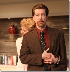 Stevie (Annabel Armour) and Martin (Nick Sandys) in Remy Bumppo Theatre Company's production of Edward Albee's The Goat or, Who is Sylvia?. Photo by Johnny Knight.