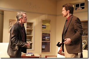 Family friend Ross (Michael Joseph Mitchell) confronts Martin (Nick Sandys) in a scene from Remy Bumppo Theatre Company's production of Edward Albee's The Goat or, Who is Sylvia?. Photo by Johnny Knight.