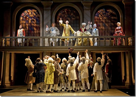 King George III (Harry Groener) and the royal family greet their subjects in Chicago Shakespeare Theater's The Madness of George III. Photo by Liz Lauren.