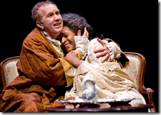 King George III (Harry Groener) celebrates his recovery with his devoted Queen Charlotte (Ora Jones) in Chicago Shakespeare Theater's The Madness of George III. Photo by Liz Lauren.