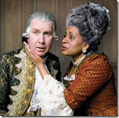 Harry Groener as the ailing King George III and Ora Jones as his devoted Queen Charlotte in Alan Bennett's The Madness of George III. Photo by Peter Bosy.