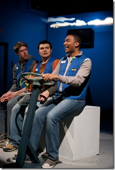 Josh Nordmark (Dirk), Derek Garza (Ebenn), and Sentell Harper (Tommy) in Mortar Theatre Company's 'I Am Montana'. Photo credit: TCMcG Photography