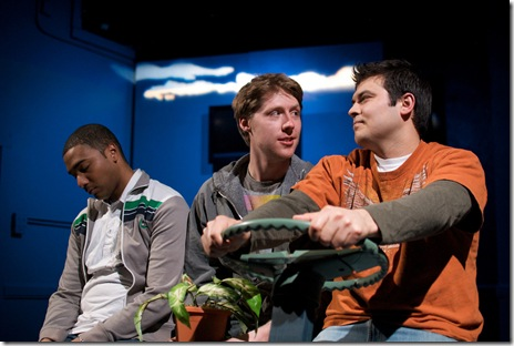 Sentell Harper (Tommy), Josh Nordmark (Dirk), and Derek Garza (Ebenn) in Mortar Theatre Company's 'I Am Montana'. Photo credit: TCMcG Photography