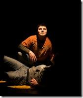 Derek Garza (Ebenn) and Josh Nordmark (Dirk) in Mortar Theatre Company's 'I Am Montan'. Photo credit: TCMcG Photography