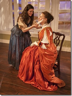 "L-R: Morse (Elizabeth Stenholt) and Darcy (Susan Monts-Bologna) in Eclipse Theatre's production of ""One Flea Spare"" by Naomi Wallace, directed by Anish Jethmalani. Photo by Scott Cooper."