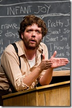 """Colm O'Reilly as Bernard in Theater Oobleck's """"There Is a Happiness That Morning Is"""". Photo by John W. Sisson, Jr."""