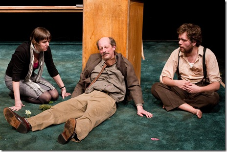 "Diana Slickman, Kirk Anderson and Colm O'Reilly in Theater Oobleck's ""There Is a Happiness That Morning Is"". Photo by John W. Sisson, Jr."