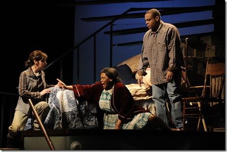 Elaine Rivkin as Didi, Aaron Todd Douglas as Leo and Celeste Williams as Jessalyn in Victory Garden's 'Tree', written by Julie Hébert. Photo by Liz Lauren.