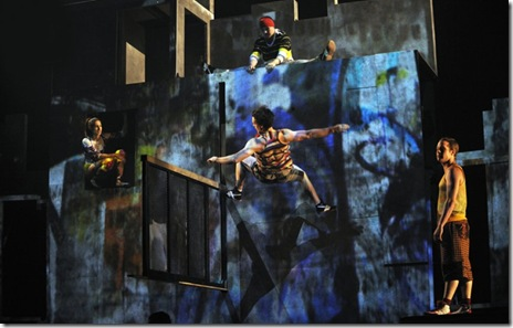 A stunt from Cirque Eloize's 'iD', at Chicago's Cadillac Palace Theatre. Photo by Valerie Remise.