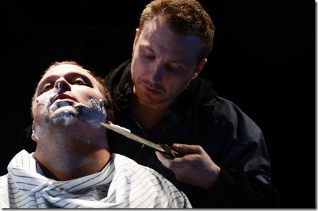 Sean Patrick Fawcett (Capt. Hauptmann) and Geoff Button (Woyzeck).