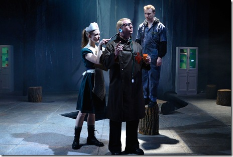 Erin Barlow (Kathë), Ryan Bollettino (Herr Doktor) and Geoff Button (Woyzeck) in Woyzeck at The Hypocrites