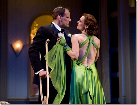 HE (Mark L. Montgomery) and SHE (Jenny Bacon) get lost in one another's embrace as they perform as Johnny Lowell and Ada Wilcox in One Last Kiss -- the play-within-the-play.  (Photo: Liz Lauren)