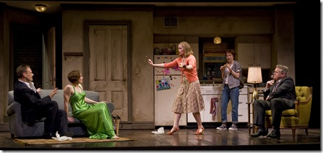 (center) Laurie (Erica Elam) confronts (l to r) HE (Mark L. Montgomery) and SHE (Jenny Bacon) as SHE's daughter Angela (Sarah Tolan-Mee) and husband Harrison (Scott Jaeck) look on. (Photo: Liz Lauren)