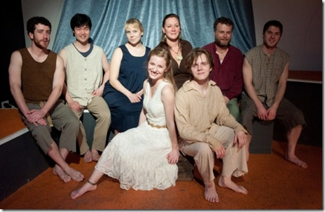 "Members of the ""Iphigeneia at Aulis"" cast, including: Ben Chang, Anthony DeMarco, Barbara Figgins, Michael Hamilton, Adam Hinkle, Anne Leone, Anna Lucero, Kipp Moorman, and Andrew Nowak.  (Photo: Serena Valenti)"