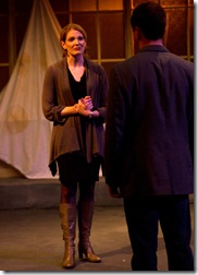"Rebekah Ward-Hays & Tony Bozzuto in Backstage Theatre's ""Three Days of Rain"" by Richard Greenberg. (photo: Hays)"