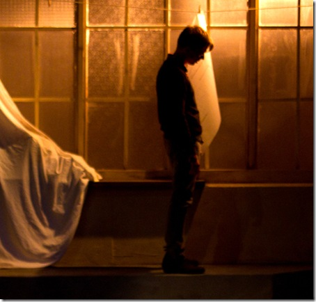 "John Henry Roberts in Backstage Theatre's ""Three Days of Rain"" by Richard Greenberg. (photo: Hays)"