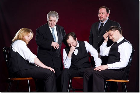 "(left to right) Garret (Aaron Snook), Lloyd (Vincent Lonergan) , Duke (Joseph Stearns), Jack (Jon Steinhagen) and Pete (Philip Winston) have a meeting about their card dealing scam, in Signal Ensemble Theatre's world premiere of ""Aces"" by ensemble member Jon Steinhagen, directed by Ronan Marra, opening May 14, 2011, 8 p.m., and running Thursdays, Fridays and Saturdays at 8 p.m., and Sundays at 3 p.m., through June 18.  (Photo: Johnny Knight)"