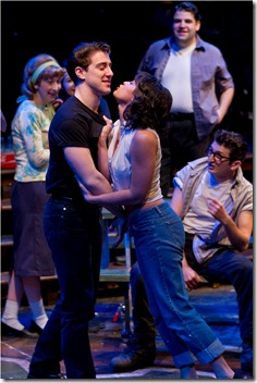 "Adrian Aguilar and Jessica Diaz in a scene from American Theater Company's ""The Original Grease"". Photo by Brett Beiner"