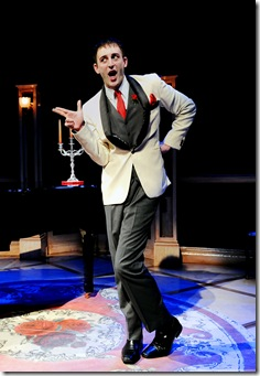 Joe Kinosian in Chicago Shakespeare Theater's Murder for Two—A Killer Musical, directed by David H. Bell and playing Upstairs at Chicago Shakespeare. (Photo: Liz Lauren)