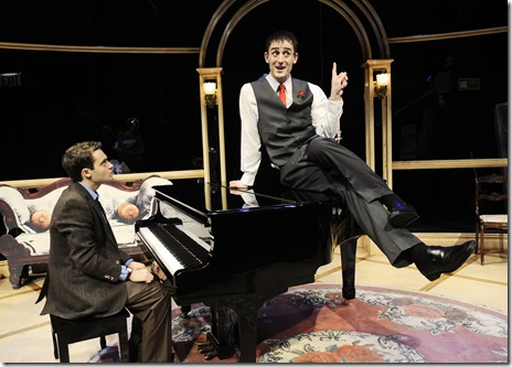 "Alan Schmuckler and Joe Kinosian in Chicago Shakespeare Theater's ""Murder for Two—A Killer Musical"", directed by David H. Bell and playing Upstairs at Navy Pier's Chicago Shakespeare. (Photo: Liz Lauren)"