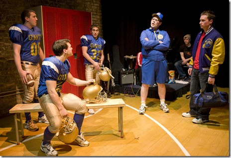 "Alex Kyger, Colton Dillion, Cameron Harms, Jeff Duhigg and Ryan Lempka in Griffin Theatre's ""No More Dead Dogs"""