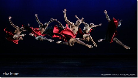 "Alvin Ailey Dancers perform ""The Hunt"", choreographed by Robert Battle (photo: Paul Kolnik)"