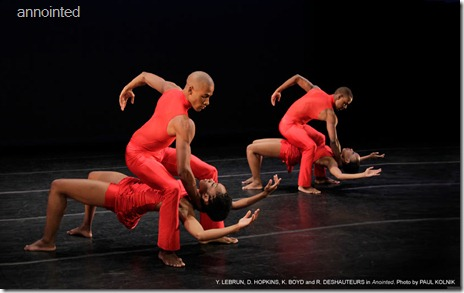 "Y. Lebrun, D. Hopins, K Boyd and R. Deshauteurs in ""Annointed"". (Photo: Paul Kolnik)"