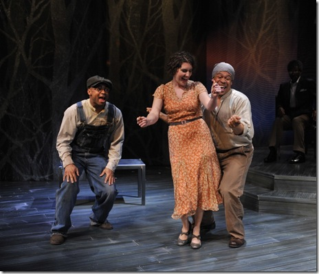 "Anthony Peeples as Apples, Kelsey Brennan as Mary and Wardell Julius Clark as Tommy Shipp in Charles Smith's ""The Gospel According To James"" at Victory Gardens Theatre (photo: Liz Lauren)"