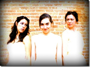 (from left) Carla Alegre-Harrison as Lydia, Jamie Bragg as Thyona, and Kate LoConti as Olympia