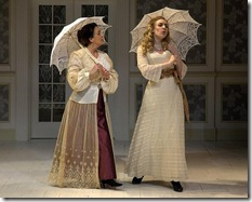 "Stephanie Stockstill (Anne) and Deanna Boyd (Charlotte) in Stephen Sondheim's ""A Little Night Music"" at Circle Theatre."