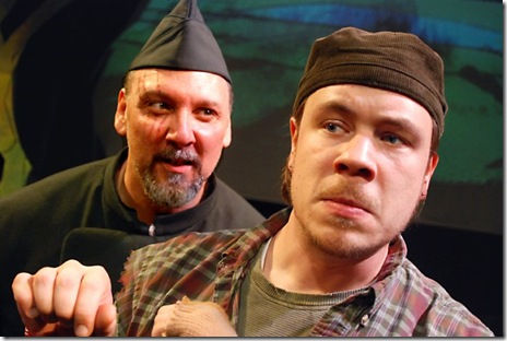 """Dave Skvarla as General Woundwort (left) and Paul S. Holmquist as Hazel (right) in Lifeline Theatre's """"Watership Down"""".  (Photo: Suzanne Plunkett)"""