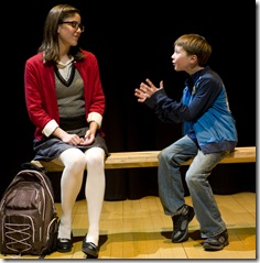 "Ellie Reed and Joey Eovaldi in Griffin Theatre's ""No More Dead Dogs"""