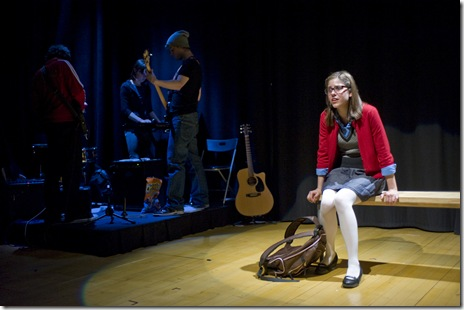 """Ellie Reed and the band 'The Mangos' in Griffin Theatre's """"No More Dead Dogs"""""""