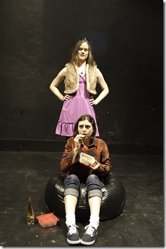 "A scene from the American Demigods' ""Erratica"" by Reina Hardy, now playing at The Second Stage, 3408 N. Sheffield."